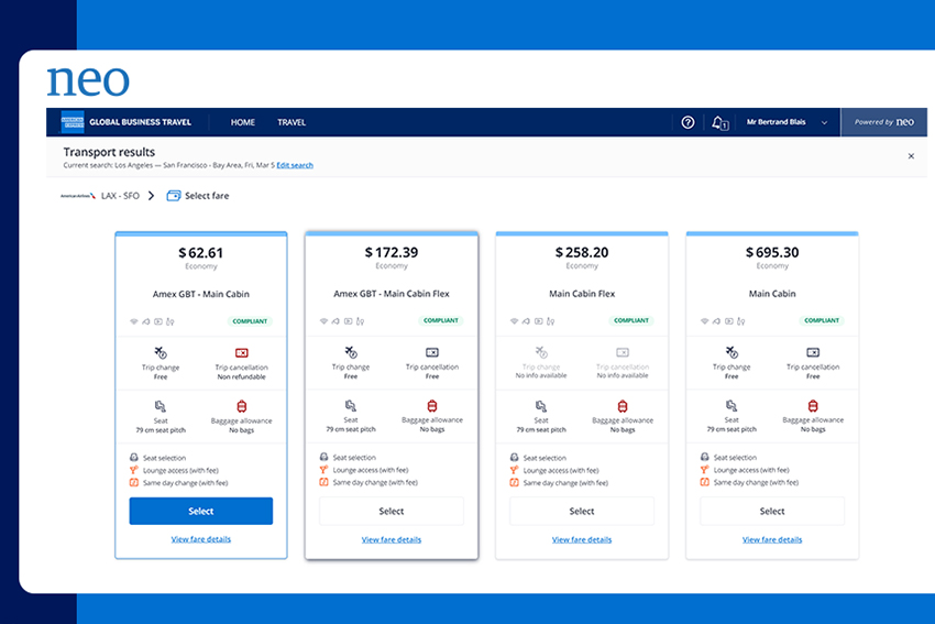 Amex GBT adds new airfare display feature to Neo