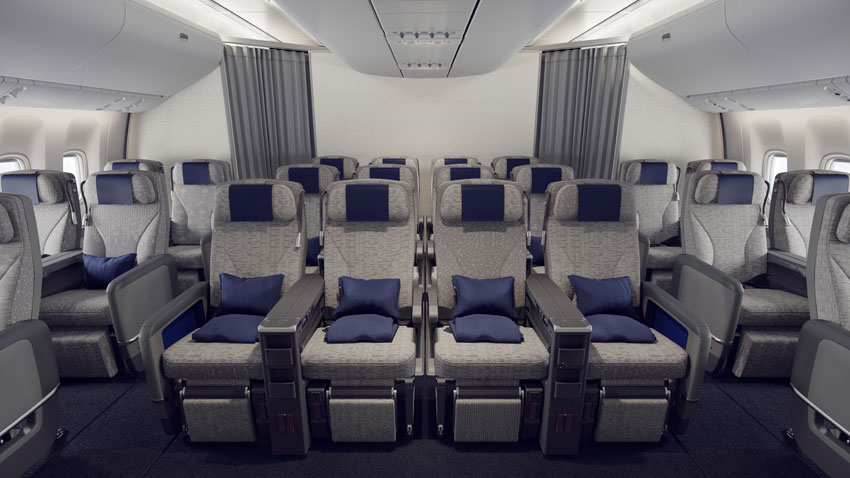 Premium Economy seats feature new upholstery and adjustable headrests